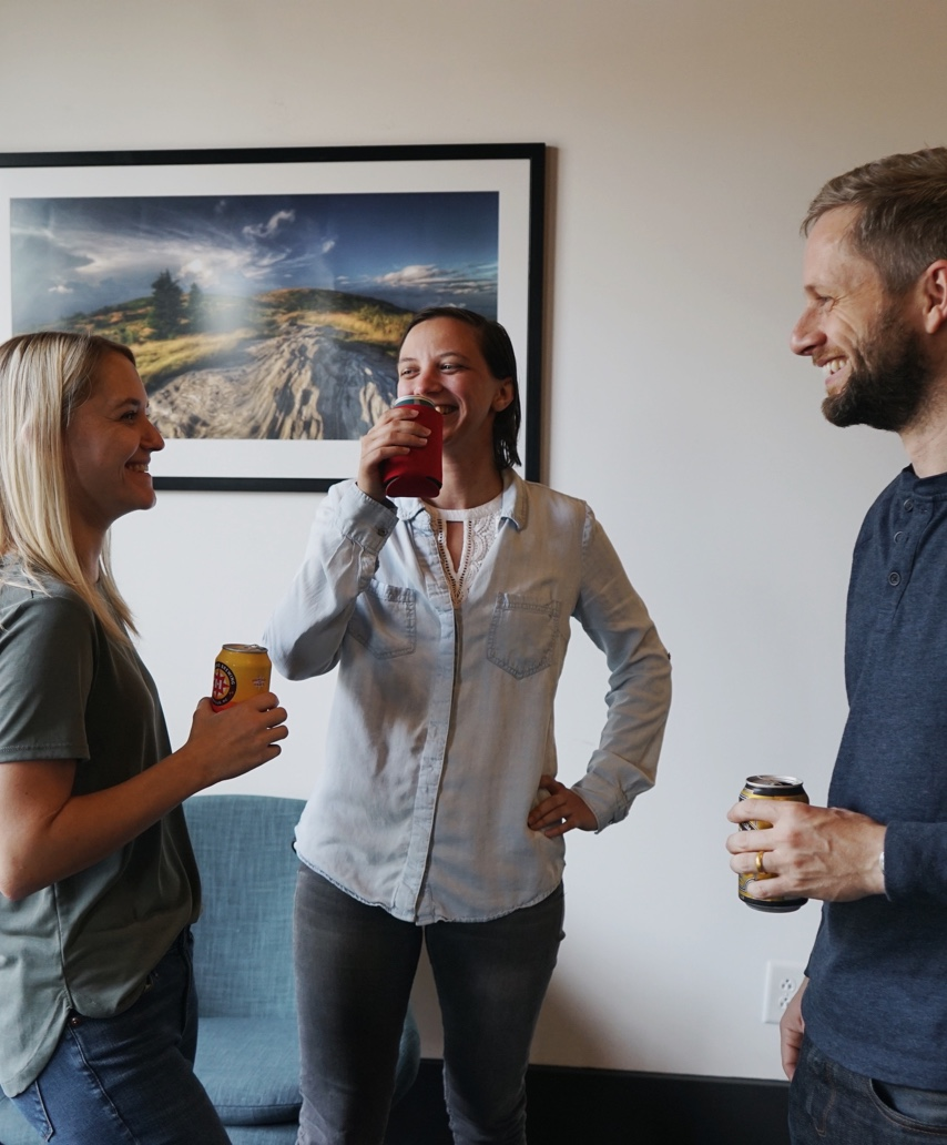 3 people laughing