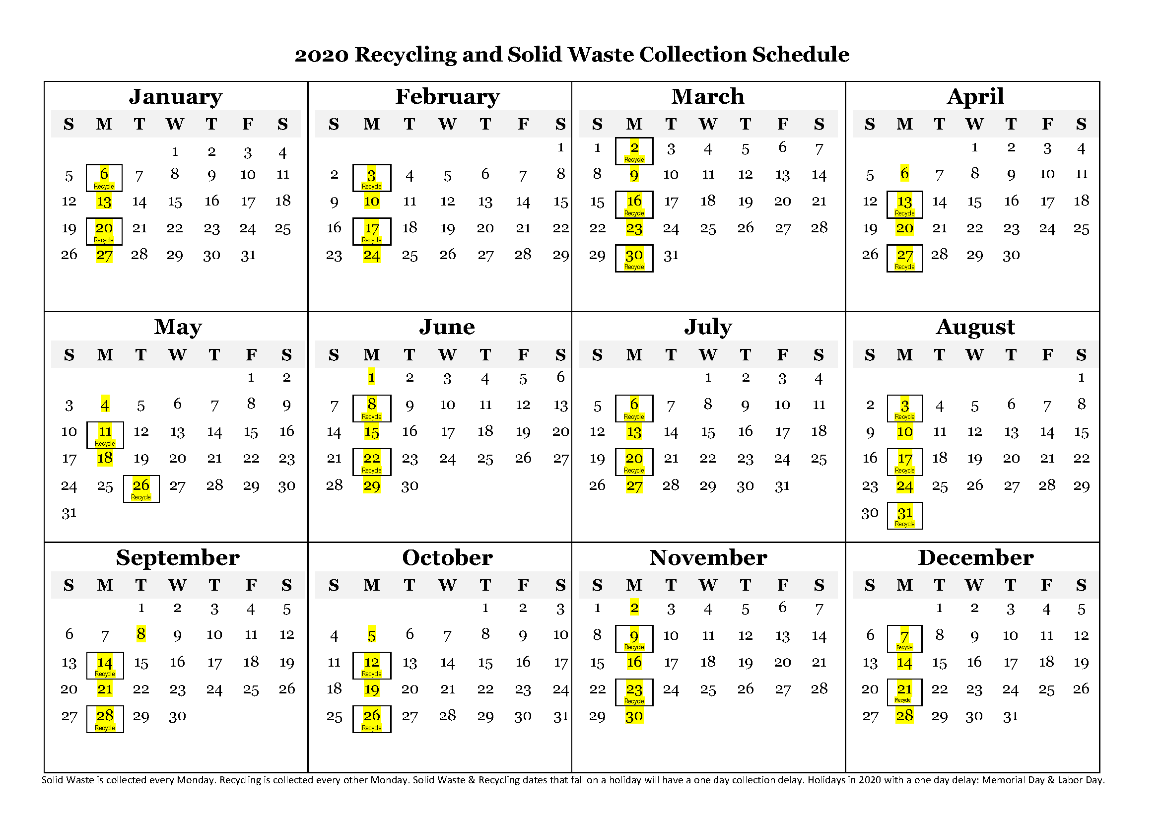 2020 Recycling/Waste Calendar