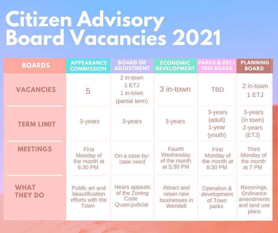 Citizen Advisory Board Vacancies 2021