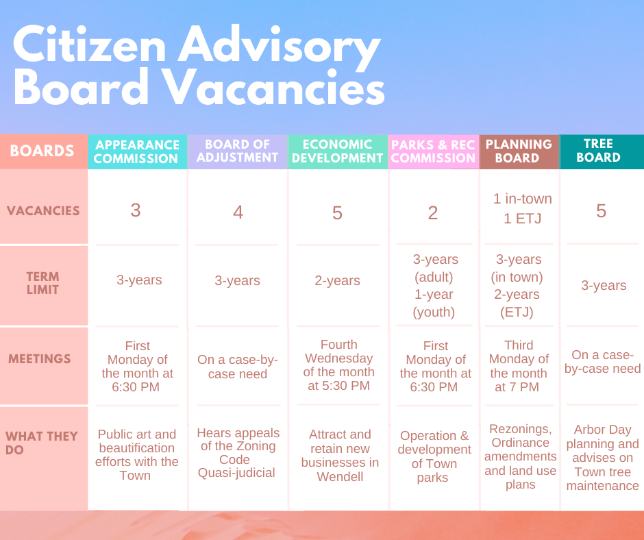 Vacancies for Citizen Advisory Boards