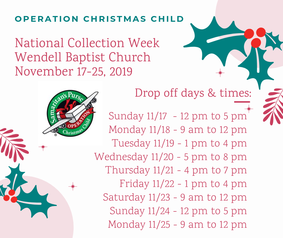 Operation Christmas Child Drop off Times