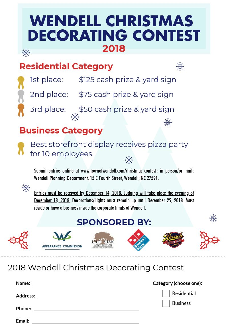 Christmas Contest Flyer.Christmas Decorating Contest Town Of Wendell