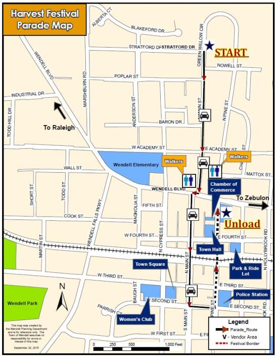 2016 Wendell Harvest Festival Parade map