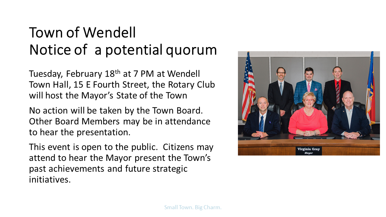 State of the Town Notice of a Potential Quorum Feb 18 at 7 PM