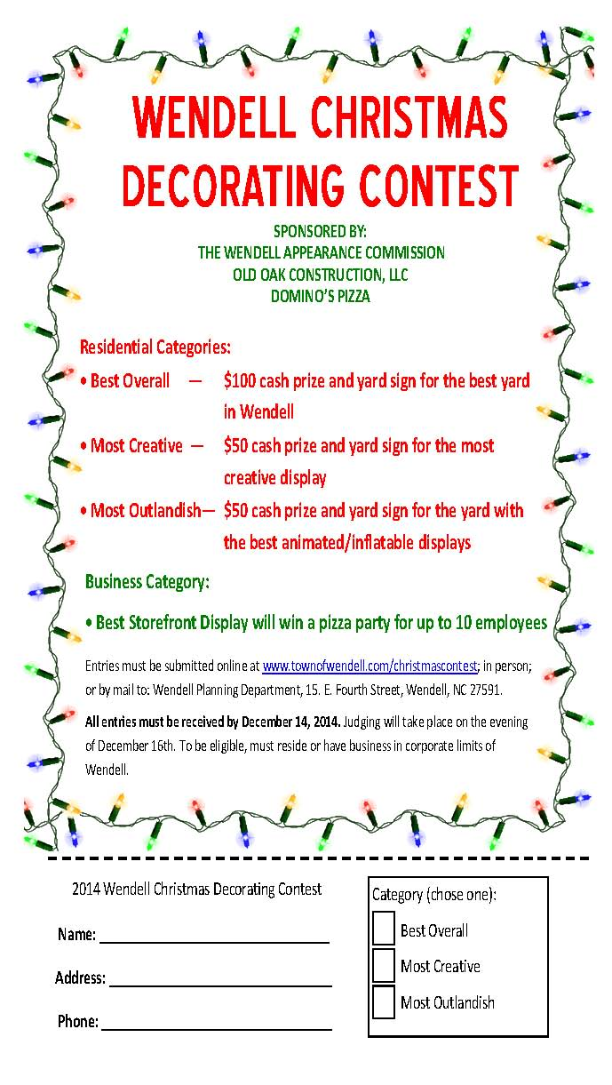 Christmas Contest Flyer.2014 Christmas Decorating Contest Town Of Wendell