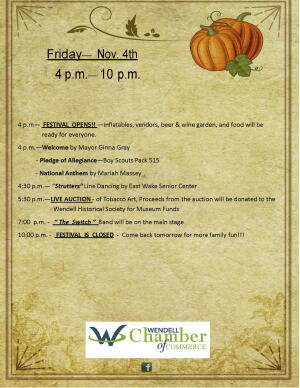 Wendell Chamber Friday Nov 4th Events
