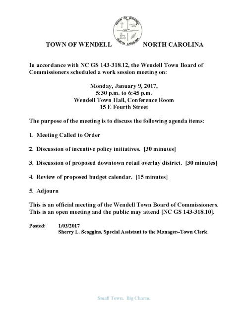 Notice of Work Session Meeting - 2017Jan09