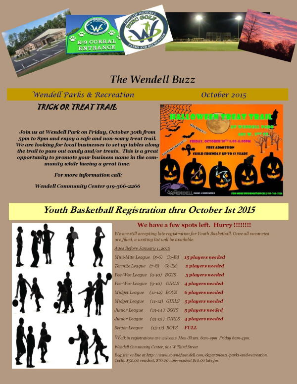 Wendell Buzz October Newsletter page 1