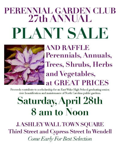 plant sale wendell town square perennial garden club