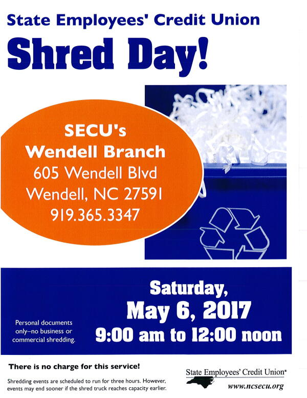 SECU Free Shred Day 2017 May 6