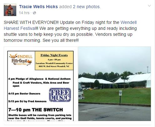 Wendell Harvest Festival moved to Community Center