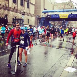 Attorney Helen Baddour at the Boston Marathon
