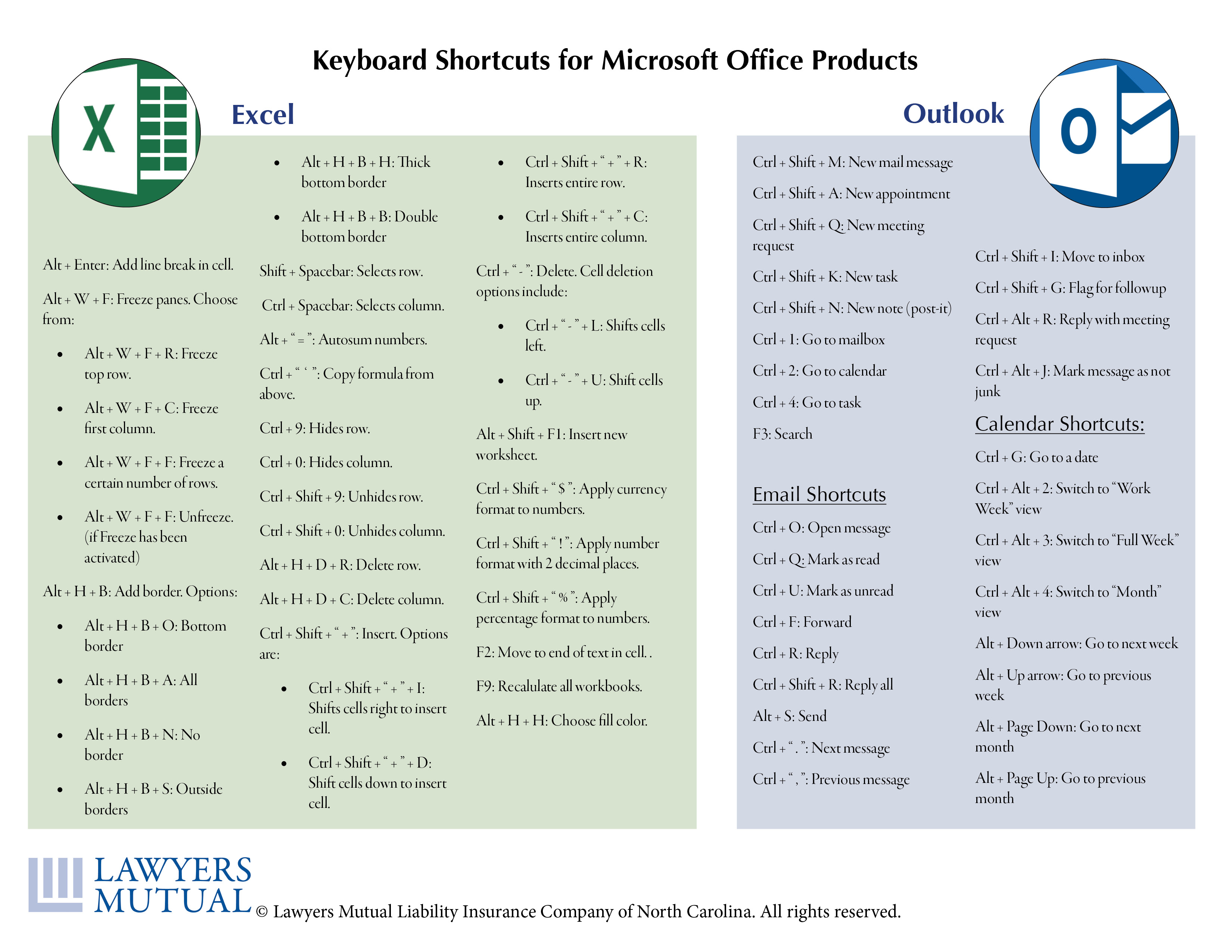 Shortcuts for Excel and Outlook
