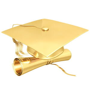 gold cap and diploma