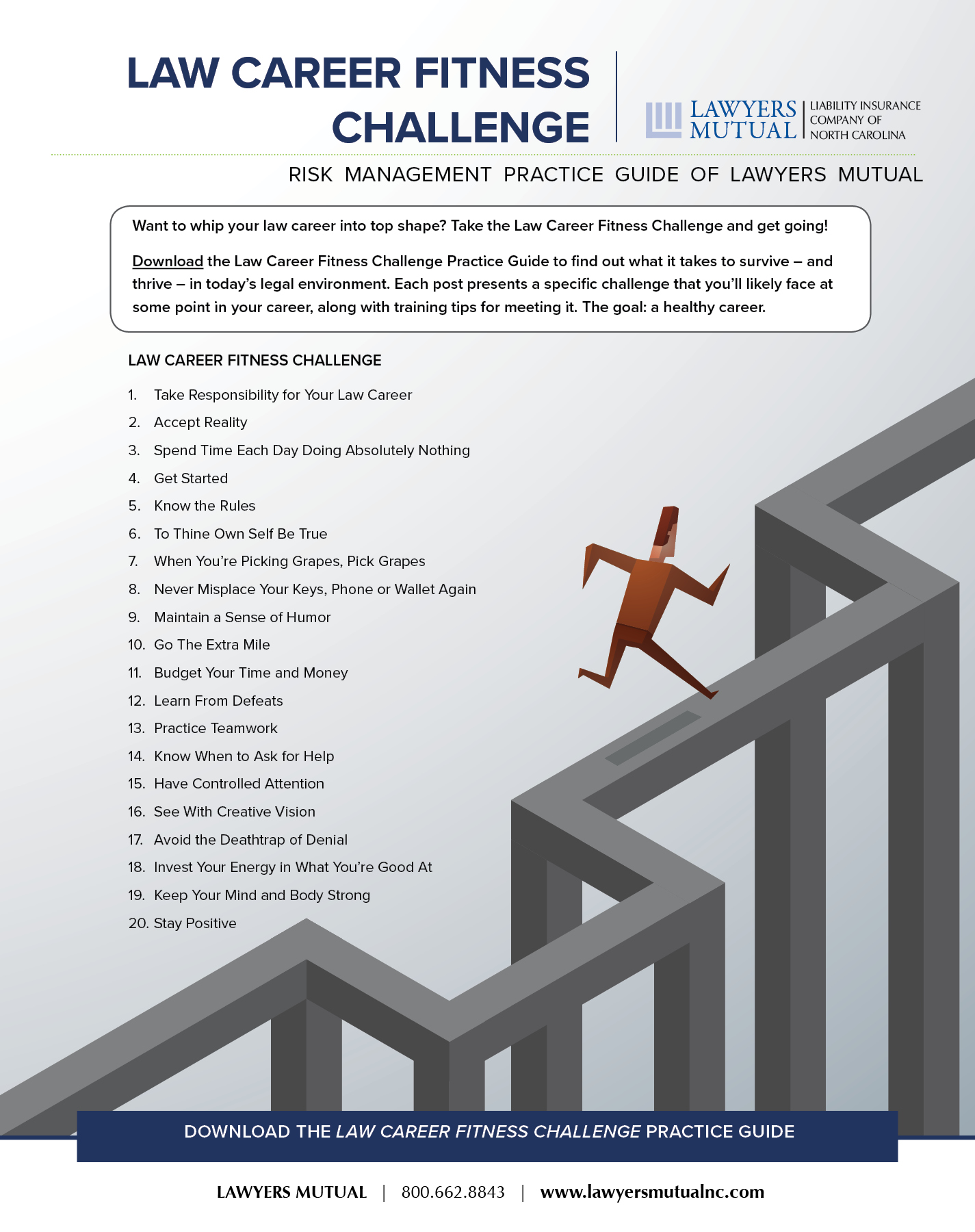 infographic for the law career fitness challenge