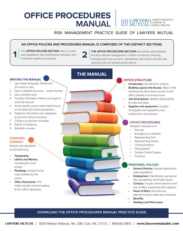 Office procedures manual infographic lawyers mutual insurance.