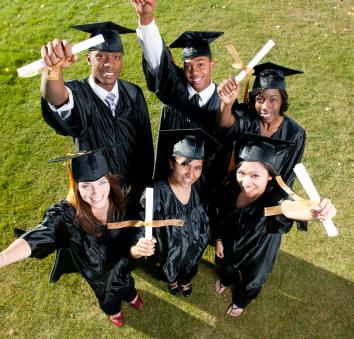 Students after graduation with their diplomas.