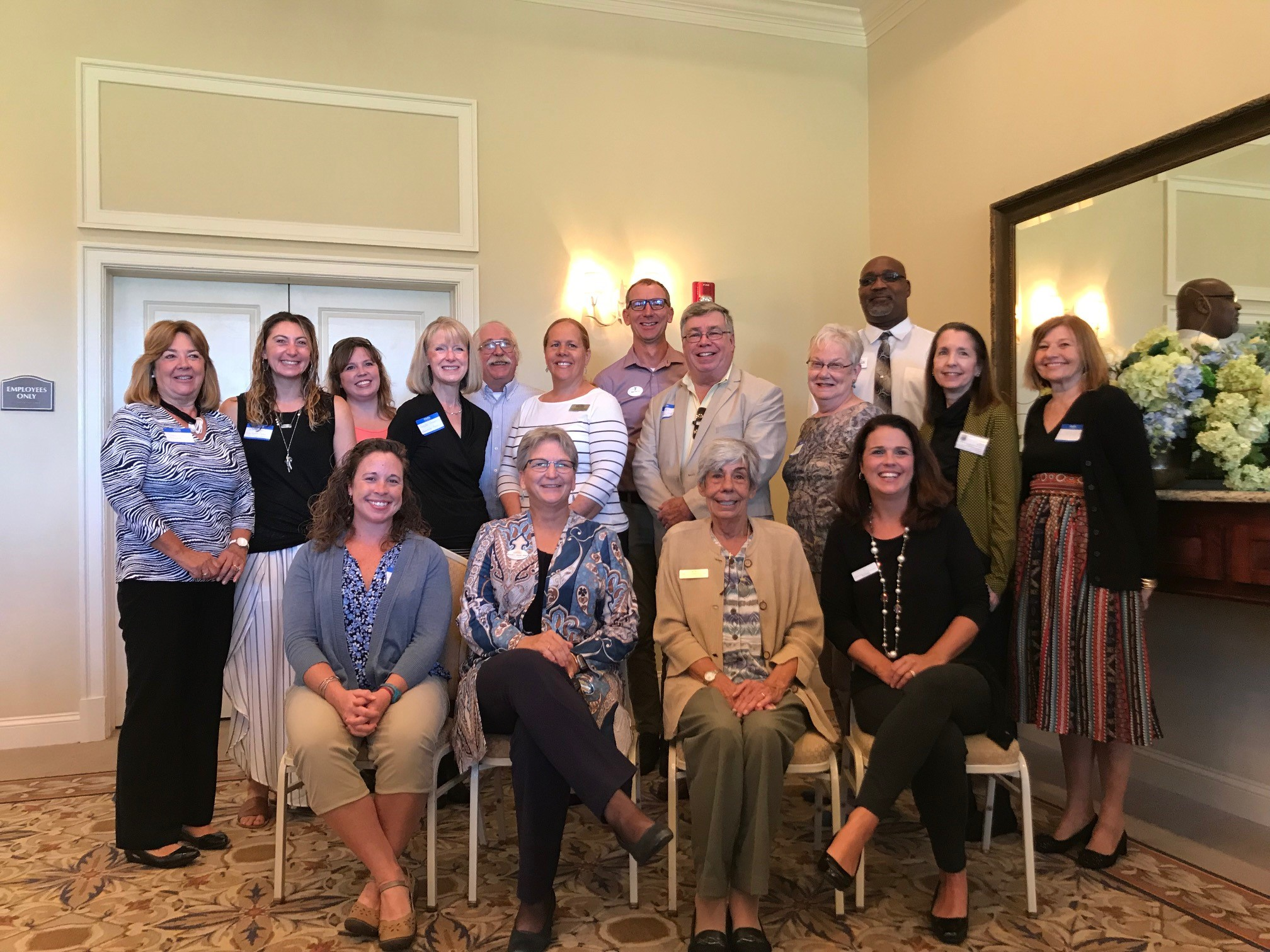 Front Row: Sarah Hallas, NC Coastal Federation; Rhonda Morris, Kids First; Gail Sonnesso, GEM; and Tina Pennington, Beloved Haven. Back Row: Toni Joyner, Food for Thought; Jessica Taylor, Dolphin Research Center; Laura Alvarico, Meals on Wheels; Heidi Prentiss, Albemarle Hopeline; Bill Henkel, Lower Currituck Food Pantry; Jenniffer Albanese, Interfaith Community Outreach; Dean Mattix, YMCA; John Havel, Outer Banks History Center; Nancy Griffin, Room In The Inn; Mike Lewis, Hotline; Kay Minis, Sea Change; and Loismary Hoehne, Currituck-Dare Community Foundation Vice-President.