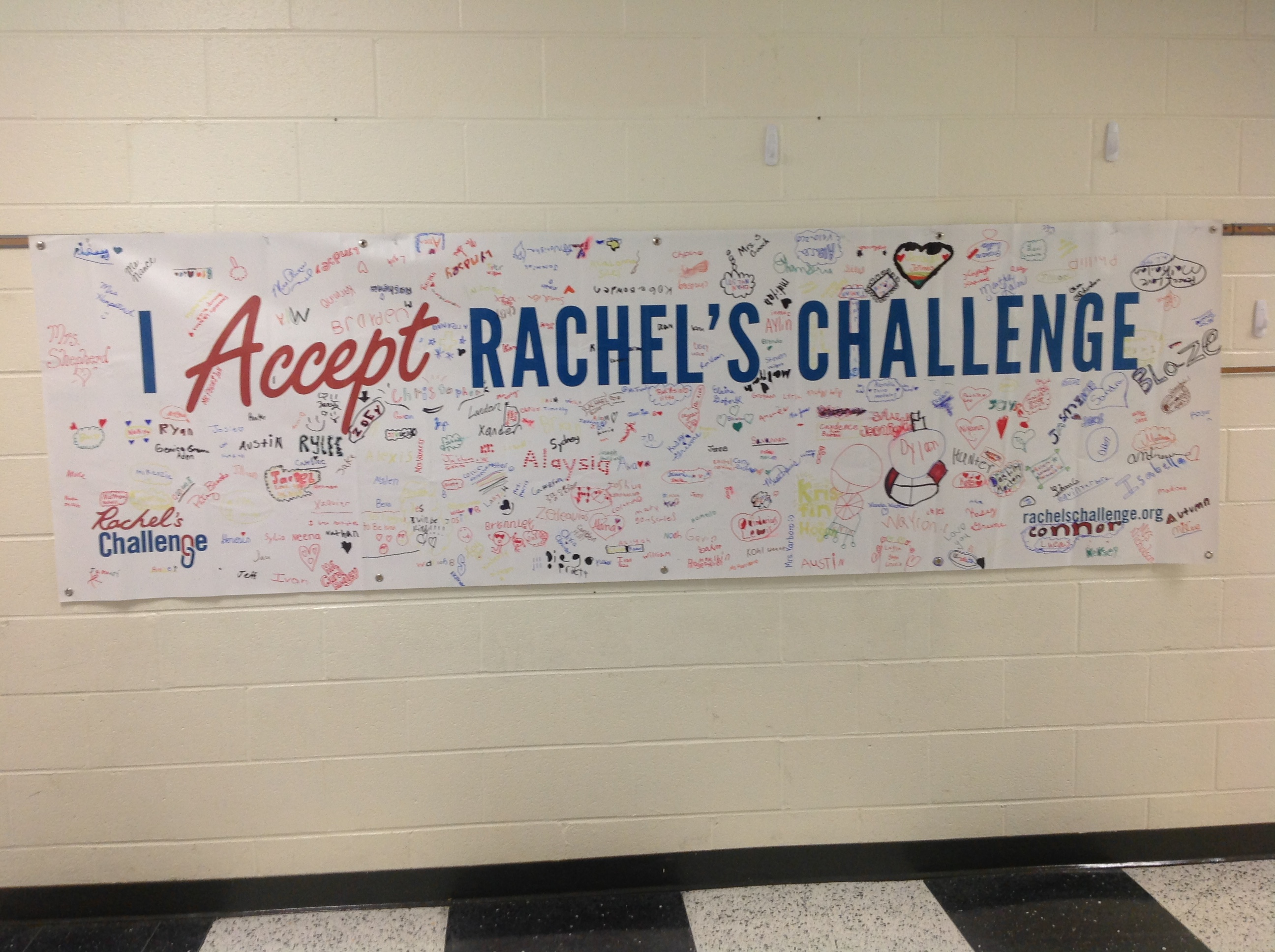All the students have signed the banner to accept Rachel's Challenge at Page Street Elementary.