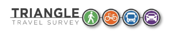 Travel survey logo with rail, car, bicycle icons