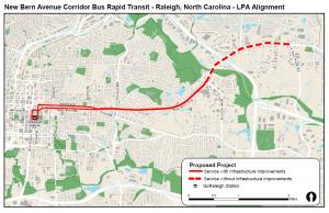 Map of New Bern Avenue Corridor BRT Alignment