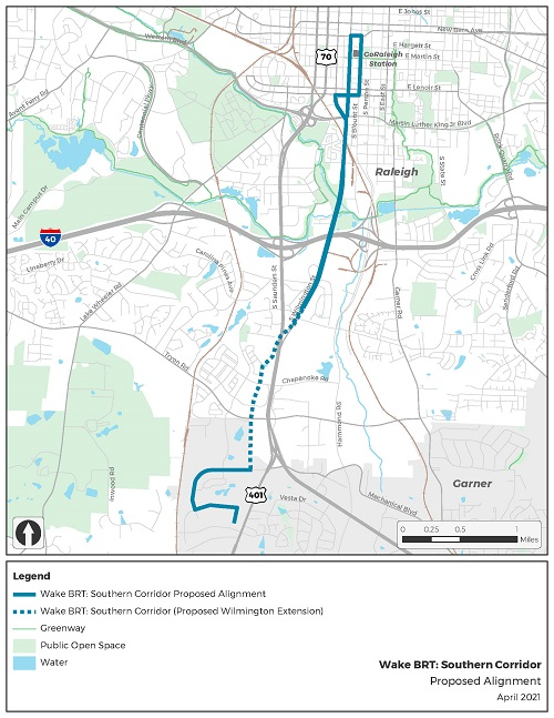 map image of southern brt alignment