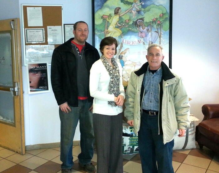 Kathy Kurtin Associate Director of Libertae, David Bauer Planet Aid Transportation Manager and Terry Kaplin Planet Aid Territory Manager