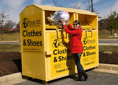 donate, clothes, textiles, recycle, planet aid, bin