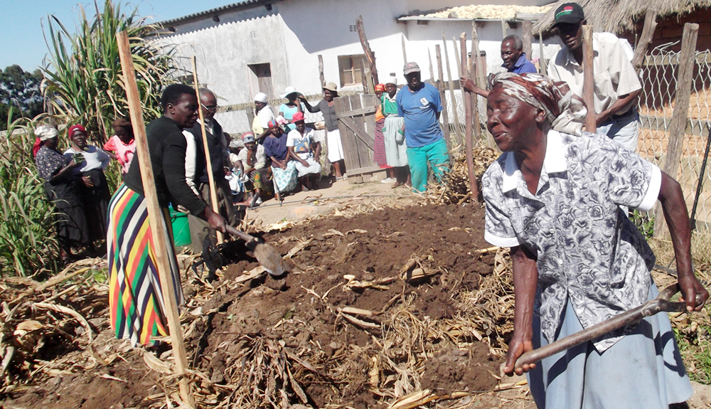Women working with a compost pile