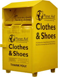 bin, yellow, donation, textiles, recycle, planet aid