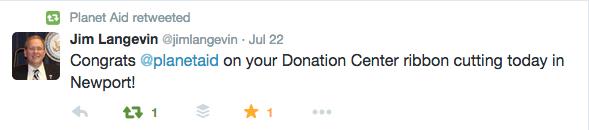 congressman Jim Langevin Planet Aid quote