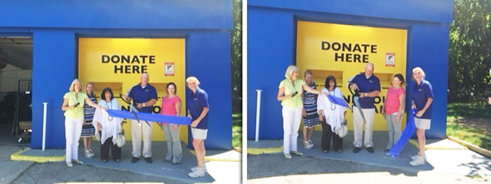 Planet Aid staff cuts the ribbon for the new Donation Center