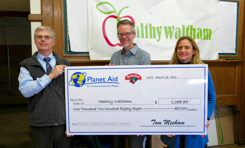 hannaford and planet aid donate to healthy waltham