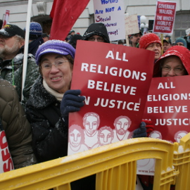 Clergy leading action in Madison, spring 2011