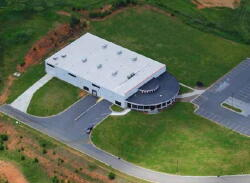 Aerial view of the Tigra building in Ashe County