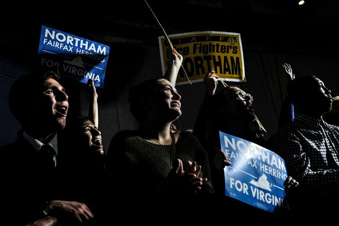 Supporters cheered for Lt. Gov. Ralph S. Northam on Tuesday night at his party in Fairfax after he was elected governor of Virginia. Credit Gabriella Demczuk for The New York Times