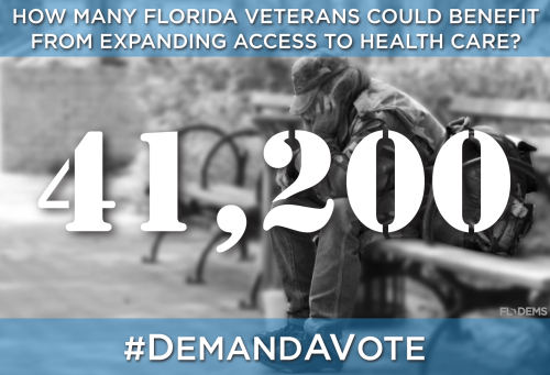 How many Florida veterans could benefit from expanding access to the health care? 42,100. #DemandAVote