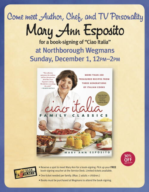 Mary Ann Esposito book signing at Wegmans in Northborough, MA on December 1, 2013.
