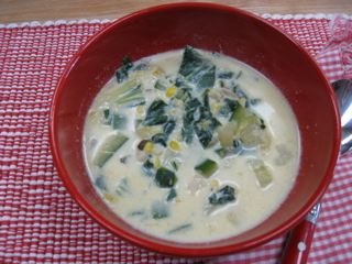 Corn and Bok Choy chowder