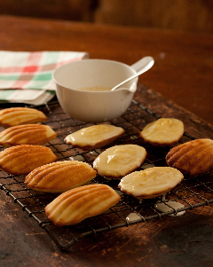 Madeleines cooling on a rack