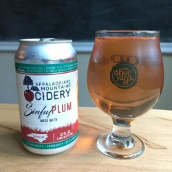 Appalachain Mountain Cidery Sinful Plum in The Hop Yard glass