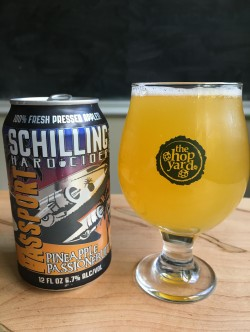Schilling Hard Cider Pineapple Passionfruit in The Hop Yard glass