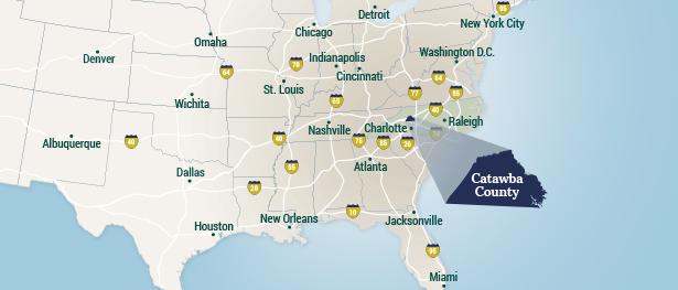 Catawba County è collocata nella parte occidentale dello Stato del North Carolina, a un'ora di distanza dalla metropoli di Charlotte.