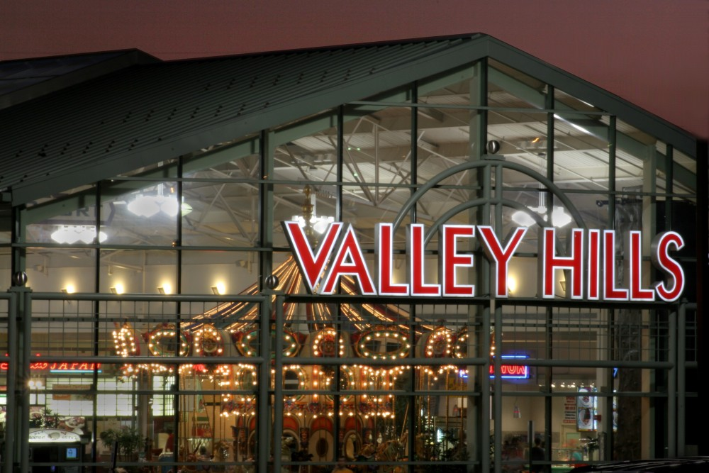 Valley Hills Mall houses over 90 specialty stores and features a 28-foot antique carousel.