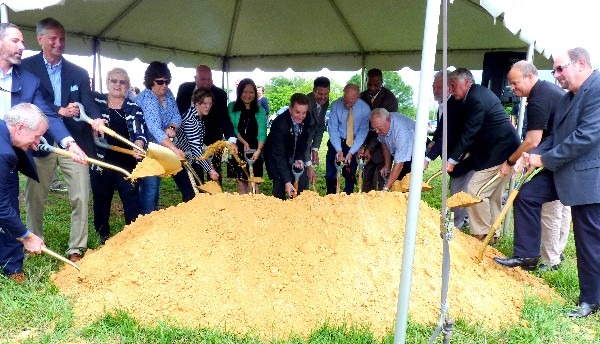 Catawba County Commissioners, City of Hickory Council Members, and others break ground at the new Trivium Corporate Center, a 270-acre Class A business park.