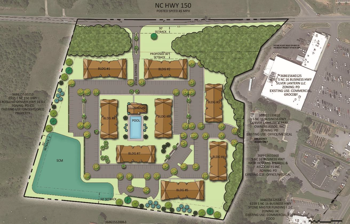 The planned Catawba Village apartment complex on N.C. Highway 150 would consist of eight apartment buildings.  Photo provided by Catawba County.