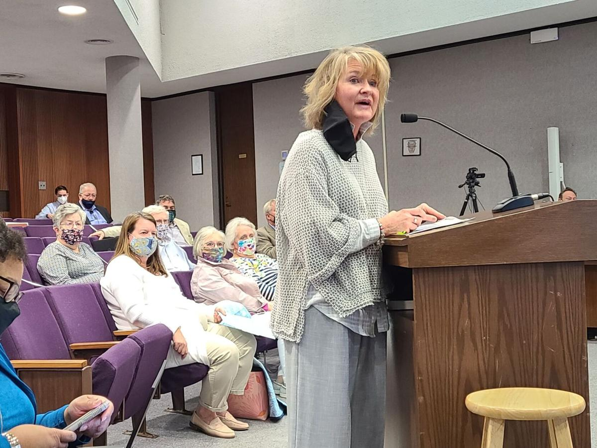 Kathy Scheller of MetroNet describes the company's plan to offer internet services in Hickory at the Hickory City Council meeting on Tuesday.  Photo by Kevin Griffin, Hickory Daily Record