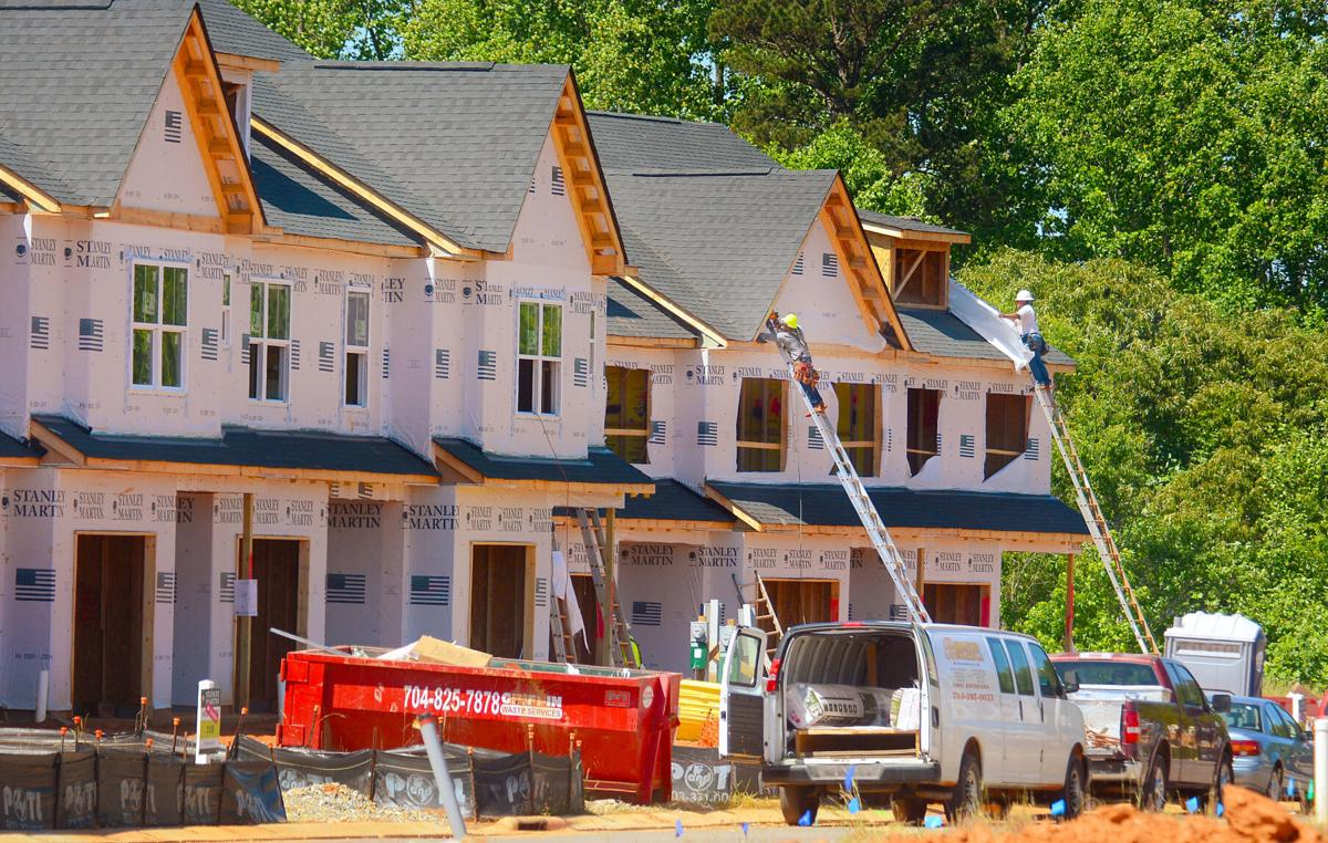 Construction of town homes at Townes at Sherrills Ford are among 66 building permits issued in Sherrills Ford in 2020.  Photo by Robert C. Reed, Hickory Daily Record