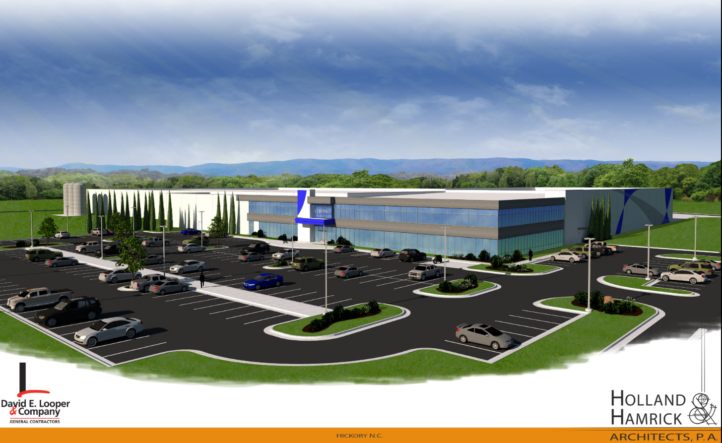 A rendering of Corning's planned facility in the Trivium Corporate Center