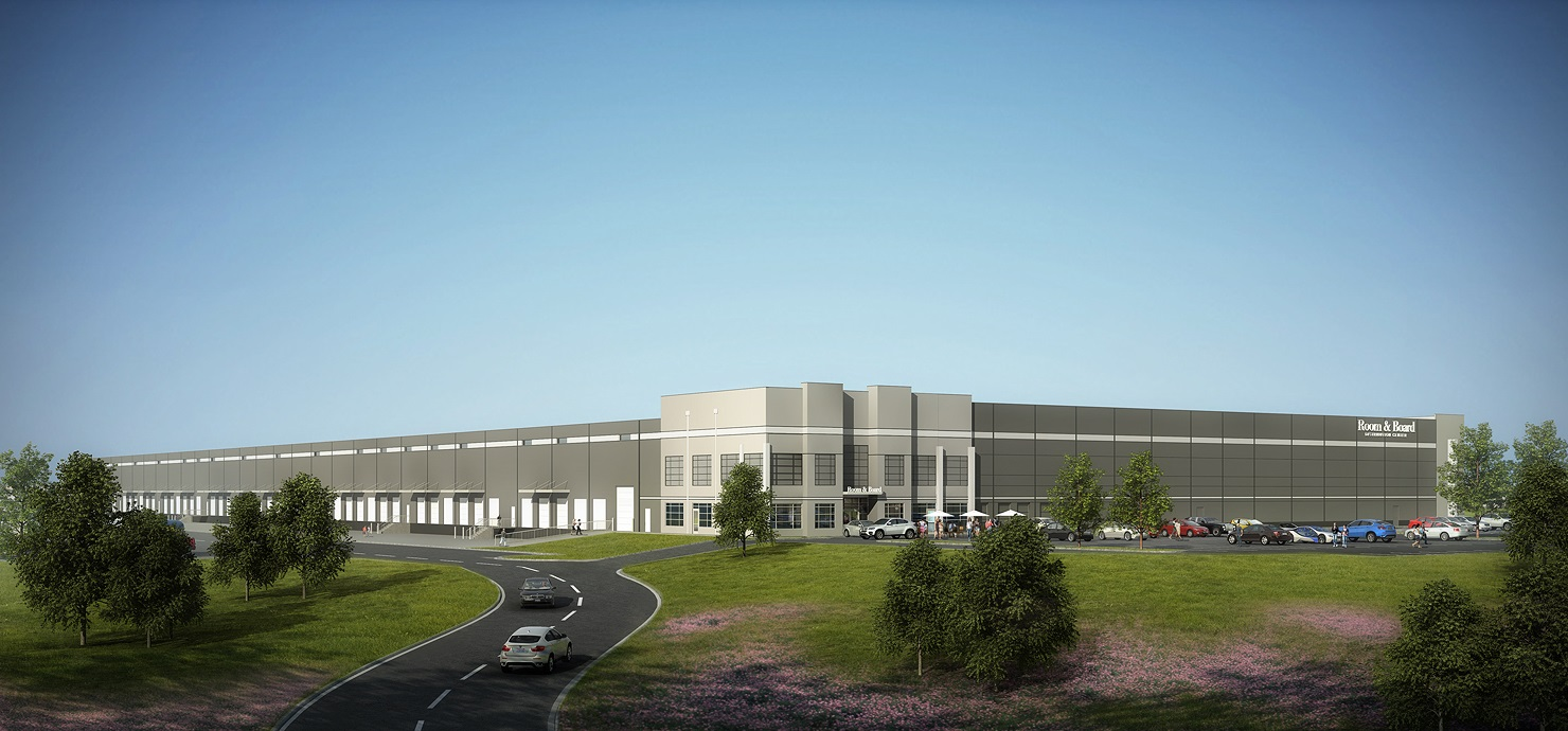 Rendering of Room & Board's proposed 250,000 s.f. warehouse and distribution center to be developed by The Keith Corporation.